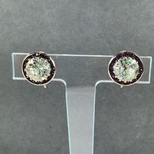 Vintage purple rhinestone round circle earrings